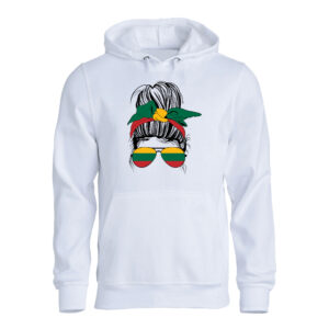 A messy bun hairstyle woman with Lithuanian flag Hoodie