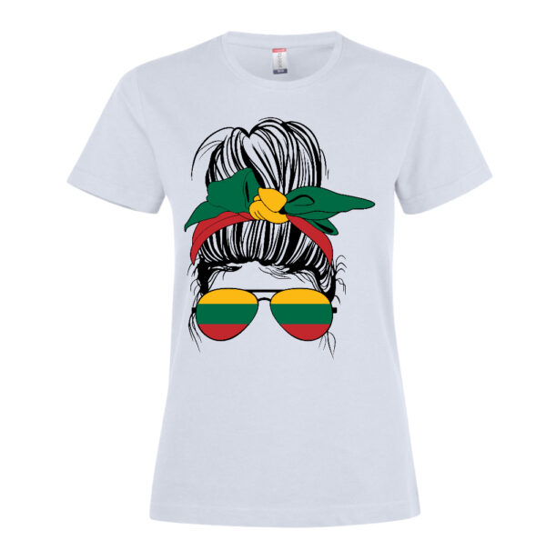 A messy bun hairstyle woman with Lithuanian flag T Shirt