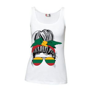 A white tank top T-shirt with a crisp drawing of a messy bun hairstyle woman with Lithuanian flag.